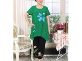 枫叶情水墨画套装 翠绿色 大码中年妈妈装 时尚妈妈装批发