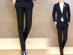 秋季男装休闲潮流锥形韩版英伦修身小西裤潮男裤子长裤黑色小脚裤