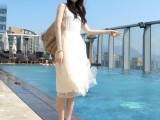 2014夏装新款韩版背心裙打底裙网纱雪纺吊带连衣裙 批发