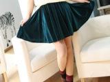 【清仓】2014春装 AA欧美金丝绒松紧半身裙 大摆短裙太阳裙子