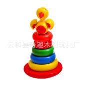 启萌大鸟不倒翁 套柱塔 积木层层叠童早教益智形状配对木制玩具