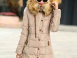 2015冬装新款女装韩版修身中长款女式棉衣大码羽绒棉服 一件代发