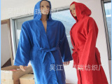 超细纤维双面绒浴袍 带帽浴袍 按样丝印LOGO 厂家直销麂皮绒浴
