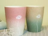 景德镇陶瓷杯批发定制 手工雕刻蒲公英的约定情侣杯 花茶杯牛奶杯