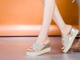 欧洲站2014新款网纱真皮凉拖坡跟水钻串珠厚底凉拖鞋时尚女鞋