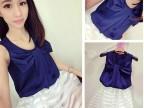 2014夏装新款女套装仿真丝蝴蝶结上衣网纱条纹半身裙两件套 A19