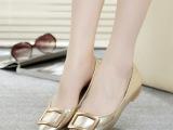 正品头层牛皮 韩版金色平底低跟尖头金属方块真皮浅口女鞋女单鞋