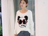 2015韩版女式卫衣 春季新款女装卡通图案大码卫衣女 短款蝙蝠衫