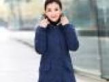 2014依一秀水新款冬装棉衣中长款外套女连帽大码女棉衣时尚F72