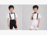 六一儿童演出服男童礼服表演服背带款白衬衫黑裤子大合唱套装现货
