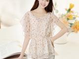 2014夏季新款 韩版印花短袖雪纺衫宽松大码女士上衣荷叶袖小衫