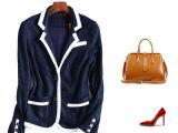 欧洲高端女装 欧美风纯色西装休闲小西服女式短款西装小外套