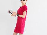 韩国2014夏季新款韩版女装纯色V领短袖连衣裙短裙厂家批发直销