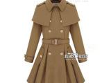 新款欧洲站时尚呢子大衣 明星款斗篷式披肩假两件毛呢外套女风衣