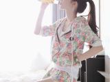 2014夏装新款韩国花朵中袖短裤套装两件套连帽休闲卫衣套装