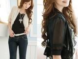 夏季新款韩版女装批发 双层袖雪纺小披肩短外套 女式短袖外套坎肩