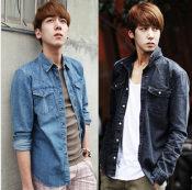2014春款牛仔衬衫韩版水洗牛仔衬衫 男士长袖衬衣 潮男牛仔衣男