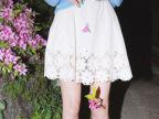 夏季新款简约淑女花瓣镂空高腰松紧短裙半身裙