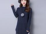 中长款套头毛衣女秋冬新款韩版圆领钉珠长袖