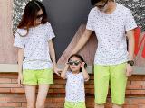 一家三口亲子装夏母女装夏季母子装韩版潮家庭套装