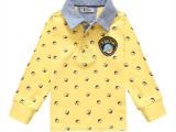 2014春款 外贸韩版男童衫 衬衣领童t恤 纯棉儿童打底衫 长袖