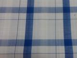 竹纤维蓝色大格衬衫面料