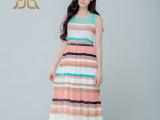 品牌女装2015春夏新款波西米亚风连衣裙长裙无袖条纹大摆裙代理