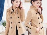 2014秋冬韩版双排扣外套 外套 毛呢外套呢大衣 短款呢子大衣8