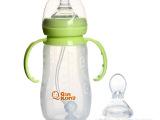 现货批发 新款宽口径260ML饮用奶瓶 带柄品牌保温婴儿硅胶奶瓶