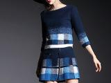 欧洲站冬季新款时尚毛呢拼皮套装 女圆领7分袖撞色外套短裙两件
