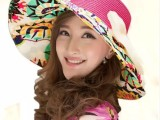 2014爆款帽子夏天女士韩版遮阳帽可折叠花布太阳帽沙滩帽大沿草帽