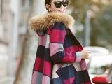 韩国东大门秋冬季女装新款韩版时尚格子毛呢外套斗篷毛呢大衣