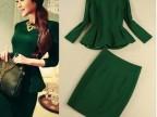 2013欧美品质女装秋 时尚优雅小清新荷叶上衣+包臀半身裙绿色套装