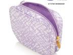 欧美一线化妆品雅诗赠品紫色几何图案印花涤纶材质手拿化妆包