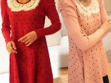 现货女式针织衫兔毛领针织衫水玉长款毛衣裙秋冬打底泡泡袖针织衫