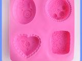 厂家直销 4连不同花形硅胶蛋糕模具 硅胶手工皂模具