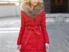 2013冬季新欢奢华貉子毛领中长款修身高绒女式羽绒服现货YRM1225