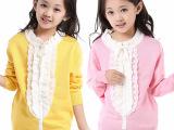 童装女童秋季新款毛衣 中大童蕾丝胸花套头毛衣儿童针织衫9001款