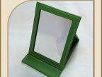 厂家销售 创意绿色化妆镜 皮质长方形化妆镜