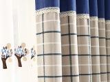 高档棉麻韩式田园窗帘成品定制 卧室书房接拼格子落地窗遮阳布料