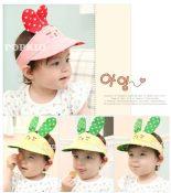 批发韩版太阳遮阳帽小兔子婴幼儿空顶帽宝宝帽子婴儿帽(4色)7047