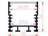 【新品】30mm*30mm带PC罩LED硬灯条外壳 线条灯外壳