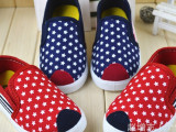 2014秋ji新款厂家批发男女童韩版软底星星韩版新潮帆布鞋