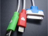 20CM一拖三发光手机数据线 LED透明发光线 USB手机数据线