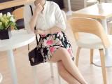 2015春夏装新款韩版修身时尚印花雪纺七分袖V领连衣裙短裙