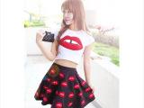 2014春夏韩版性感大嘴唇短袖T恤+红唇印花大摆伞裙短裙子套装