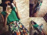 小清新!绿色褶皱雪纺背心+碎花短裙套装 两件套