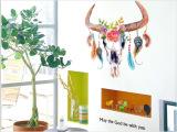 手绘牛角羽毛墙贴创意DIY客厅装饰贴画P
