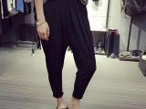 2015夏季新款韩版时尚多褶的滑滑面料哈伦裤锥形裤小 脚裤女