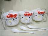 厂价直供 可爱卡通陶瓷调味罐三件套 hello kitty三件套